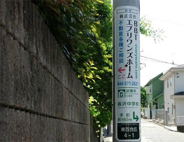 避難場所誘導図付き電柱広告